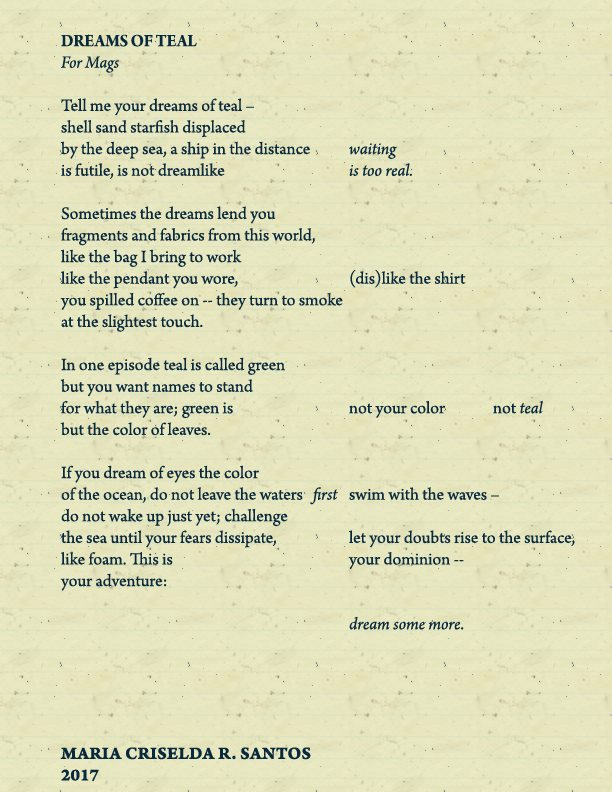 Poetry Submission: 'Dreams of Teal' – Bookbed